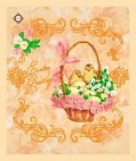 Схема вышивки бисером на габардине Салфетка Поздравления с Пасхой