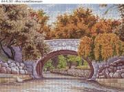 Схема для вышивки бисером на габардине Мост влюбленных