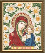 Схема вышивки бисером на габардине Казанская Божья Матерь