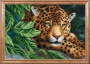 Схема вышивки бисером на габардине Леопард на отдыхе