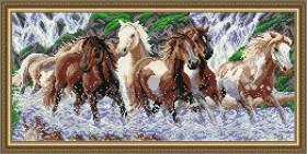 Набор для выкладки алмазной техникой Дикий табун, , 500.00грн., АТ3213, Art Solo, Алмазная мозаика