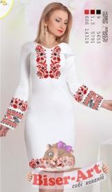 Заготовка женского платья на БЕЛОМ ЛЬНЕ Biser-Art Bis6054 белый лен - 534.00грн.