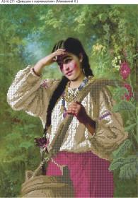 Схема для вышивки бисером на габардине Девушка с коромыслом, , 70.00грн., А3-К-271, Acorns, Люди
