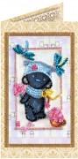 Набор - открытка для вышивки бисером Мишка Тедди и стрекозы