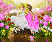 Схема  вышивки бисером на атласе Ангелы весны