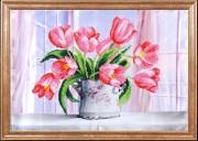 Схема для вышивки бисером на атласе Розовые тюльпаны