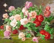 Схема для вышивки бисером на атласе Букет любимых роз