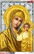 Схема вышивки бисером на габардине Матір Божа Казанська