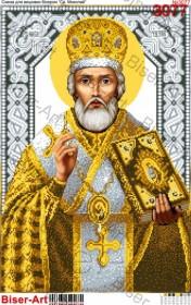 Схема вышивки бисером на габардине Св. Миколай