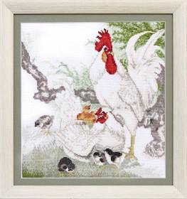 Набор для вышивки крестом Дружная семья, , 195.00грн., ВТ-124, Cristal Art, Петух символ 2017 года