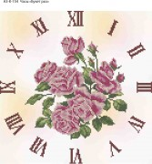 Схема для вышивки бисером на габардине Часы Букет Роз
