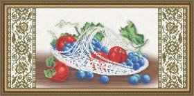 Схема вышивки бисером на габардине Хрусталь. Виноград и яблоки на бежевом