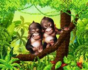 Схема для вышивки бисером на атласе Веселые обезьянки