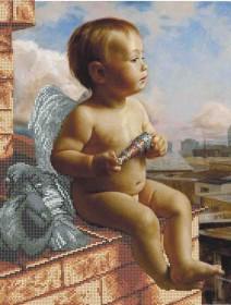 Схема вишивкі бісером на габардині Ангел на даху Acorns А3-К-882 - 70.00грн.