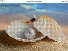 Схема для вышивки бисером на габардине Ракушка с жемчугом Acorns А4-К-038