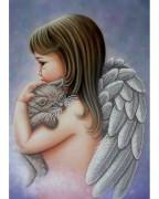 Схема для вышивки бисером на габардине Ангел з кошеням