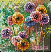 Набор-миди для вышивки бисером на натуральном художественном холсте Разноцветные шары