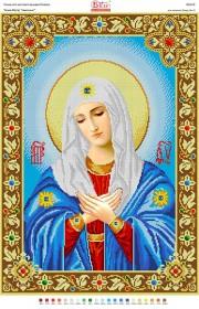 Схема вышивки бисером на габардине Божа Матір Умиління
