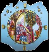Набор для создание часов с вышитой основой Красочный город