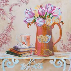 Схема для вышивки бисером на холсте Прованские тюльпаны