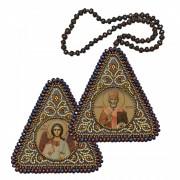 Набор для вышивания бисером двухсторонней иконы оберега Св. Николай Чудотворец и Ангел Хранитель