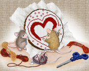 Схема вышивки бисером на атласе Мышки - рукодельницы