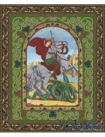 Схема для вышивки бисером на атласе Икона Святой Великомученик Георгий Победоносец, , 50.00грн., БГИ-4005, Вдохновение, Именные иконы 20*30 см.