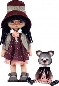 Набор для шитья куклы и мягкой игрушки Девочка с котиком