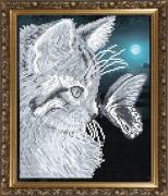 Схема вышивки бисером на габардине Кот с бабочкой