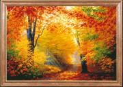 Схема для вышивки бисером на габардине Разноцветная осень