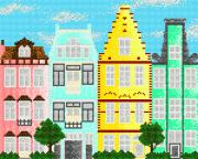 Схема вышивки бисером на атласе Европейские домики 2