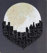 Набор для вышивки бисером на натуральном художественном холсте Город не спит