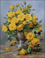 Схема вышивки бисером на атласе Жёлтые розы Эдельвейс А-2-076 Атлас