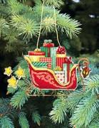 Набор для вышивки нитками Новогодняя игрушка Сани