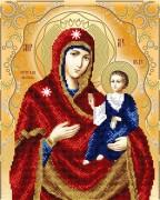 Схема вышивки бисером на атласе Иверская икона Божьей Матери
