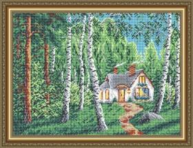 Схема вышивки бисером на габардине Домик в лесу