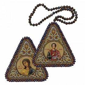 Набор для вышивания бисером двухсторонней иконы оберега Св.Вмч.Целитель Пантелеимон и Ангел Златы Власы