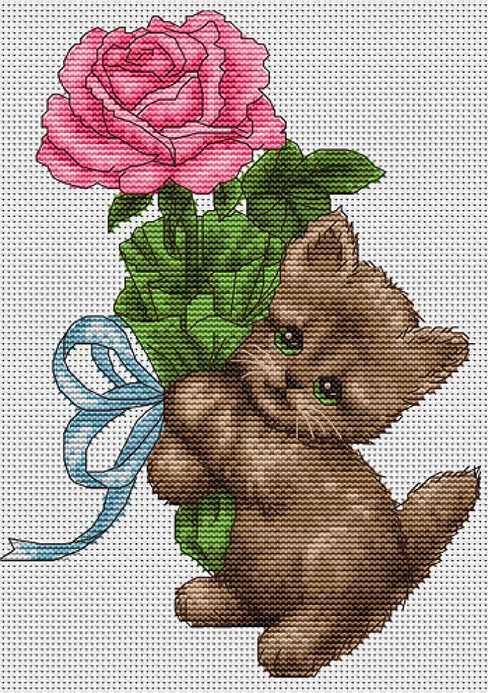 Котенок с цветком схема