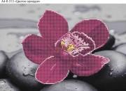 Схема для вышивки бисером на габардине Цветок орхидеи