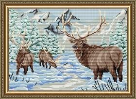Набор для выкладки алмазной мозаикой Олени в зимнем лесу