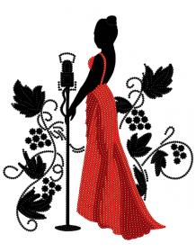 Схема  вышивки бисером на атласе Певица