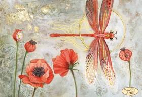 Схема вышивки бисером на атласе Красная стрекоза