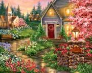 Схема для вышивки бисером на габардине Дом в цвету