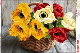 Схема вышивки бисером на габардине Квіти, , 60.00грн., 30х40-523, Biser-Art, Цветы