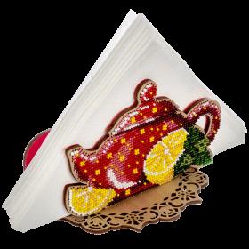Набор для вышивания бисером по дереву салфетницы Красный чайничек Волшебная страна FLK-249 - 295.00грн.