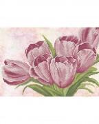 Схема вишивкі бісером на габардині Рожеві тюльпани