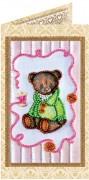 Набор - открытка для вышивки бисером Мишка Тедди 6