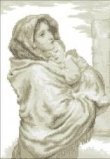 Схема вышивки бисером на габардине Мадонна с младенцем Эдельвейс С-14