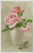 Схема вышивки бисером на атласе Розовые розы