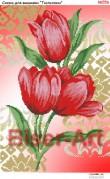 Схема вышивки бисером на габардине Тюльпани